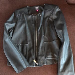 Vince Camuto Leather Crop Moto Jacket